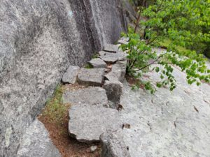 A damaged stone stairway on the Valley Cove Trail in Acadia National Park