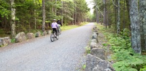 Bicyclists on Eagle Lake Carriage Road in Acadia National Park