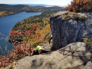 Hiker on Jordan Cliffs Trail in Acadia National Park