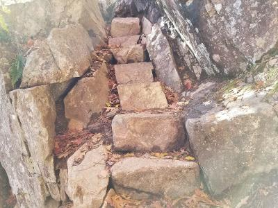 Jordan Cliffs Trail stone staircase in Acadia National Park
