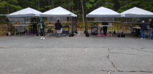 Outside information booths at Acadia National Park during the pandemic
