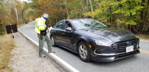 Mike Fitzpatrick assists with traffic control at Acadia National Park