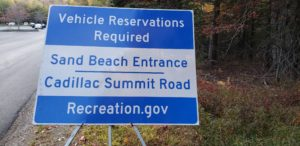 Vehicle reservation sign at Acadia National Park