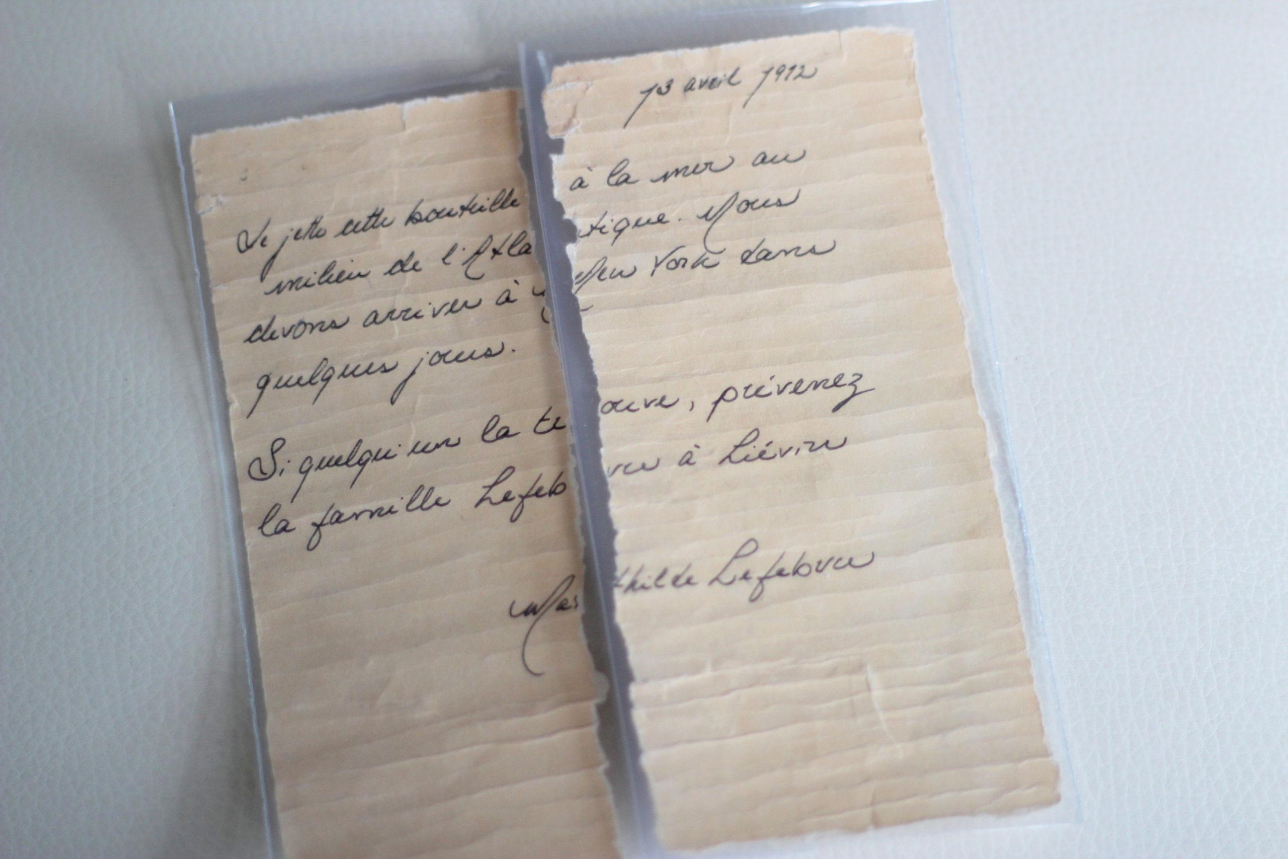 Une lettre découverte dans la baie de Fundy passionne les chercheurs