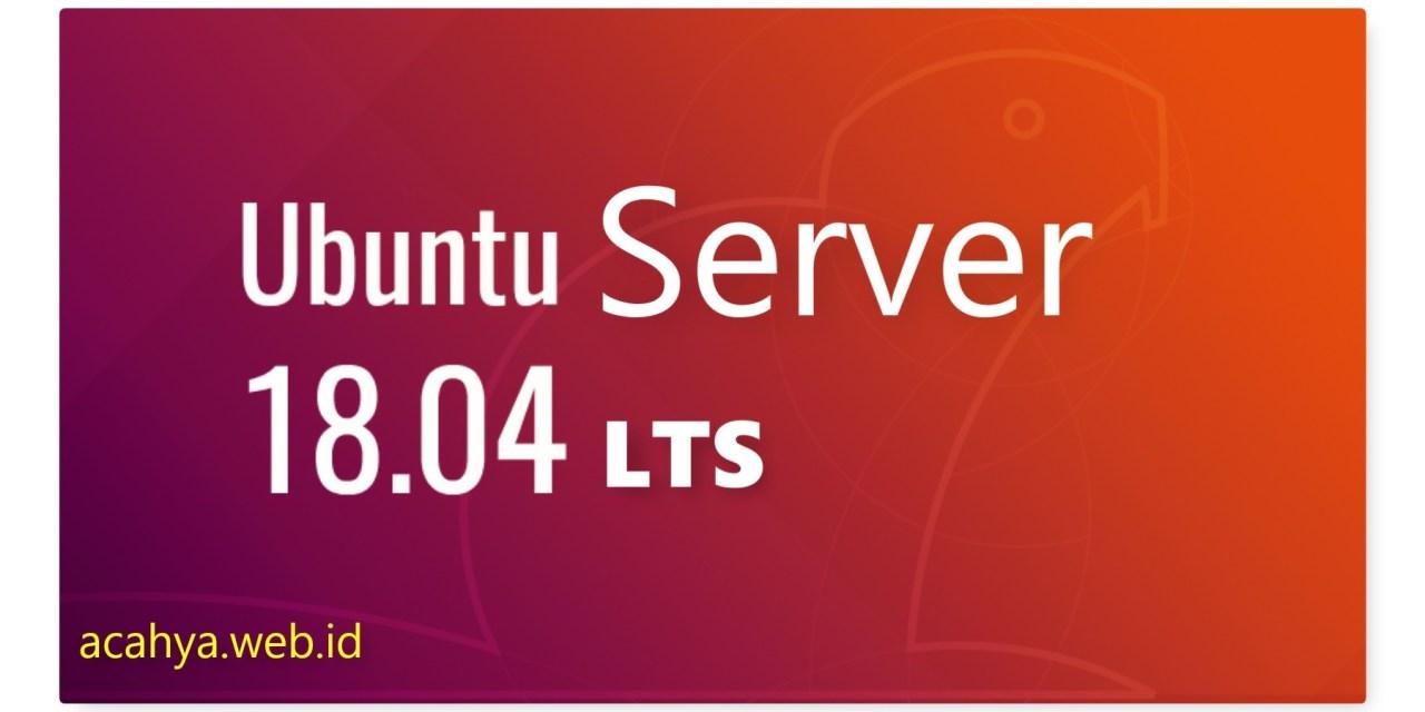 Instalasi Ubuntu Server 18.04 LTS (Bionic Beaver) Minimal Server