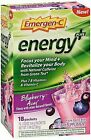 Emergen-C Energy+ Fizzy Drink Mix Packets Blueberry-Acai – 18 packets, Pack of 2