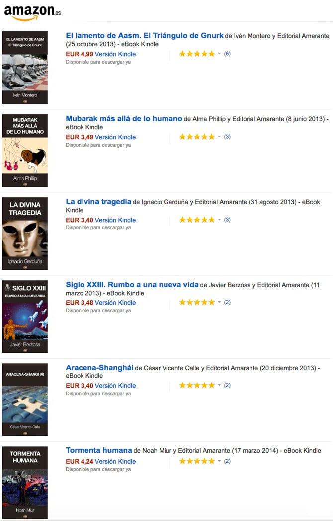 Opiniones en Amazon de Editorial Amarante