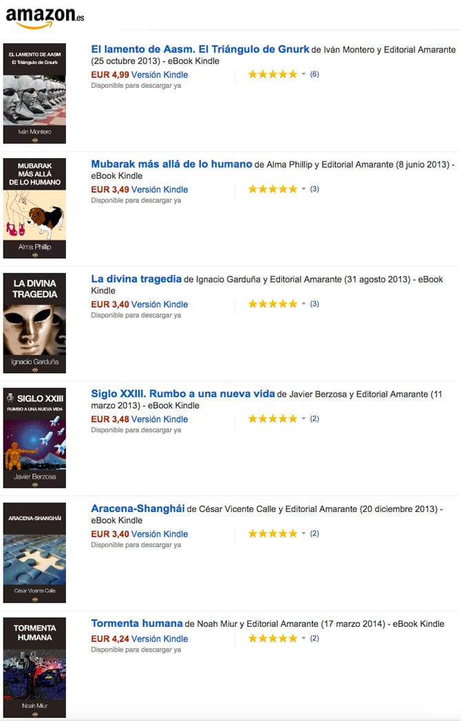 Opiniones en Amazon de Editorial Amarante