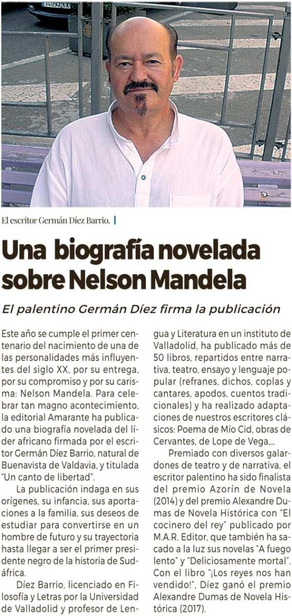 Nelson Mandela - Periódico Carrión - Germán Díez Barrio - Editorial Amarante