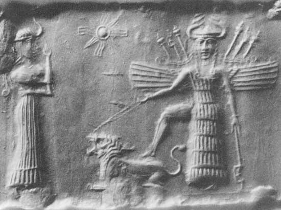 Antiguo sello de cilindro acadio que representa a Inanna, el tema de muchos de los himnos de Enheduanna, apoyando el pie en la espalda de un león, c. 2334-2154 aC