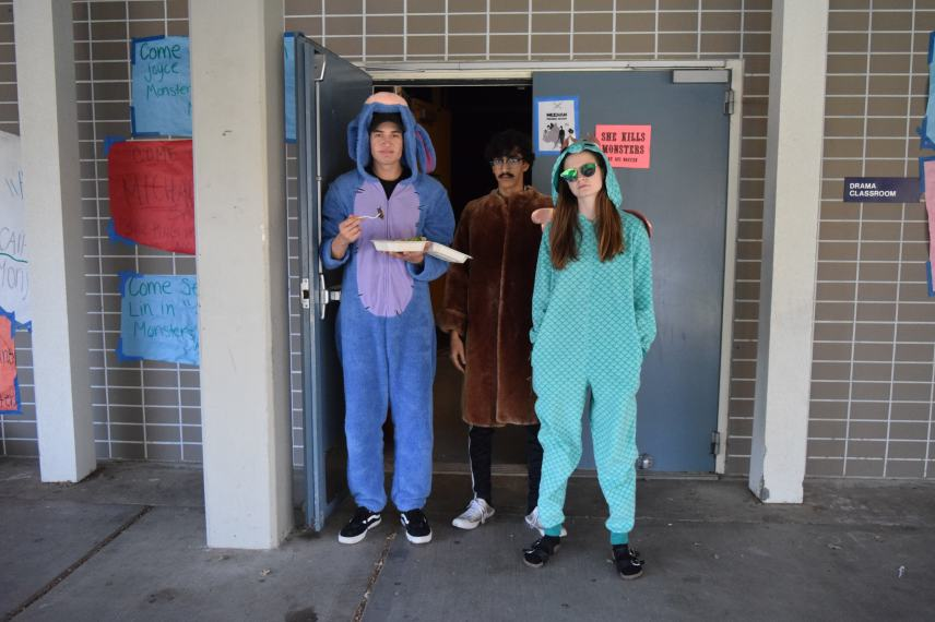 (From left to right: senior Adam Coate, senior Hurali Rizvi and sophomore Brady Sugrue). Eeyore and friends mug it for the camera; one thing is for certain—this definitely isn't Winnie the Pooh.