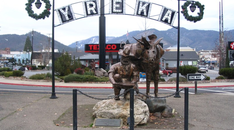 Statue at Entrance of Yreka Historic District -- Public Domain