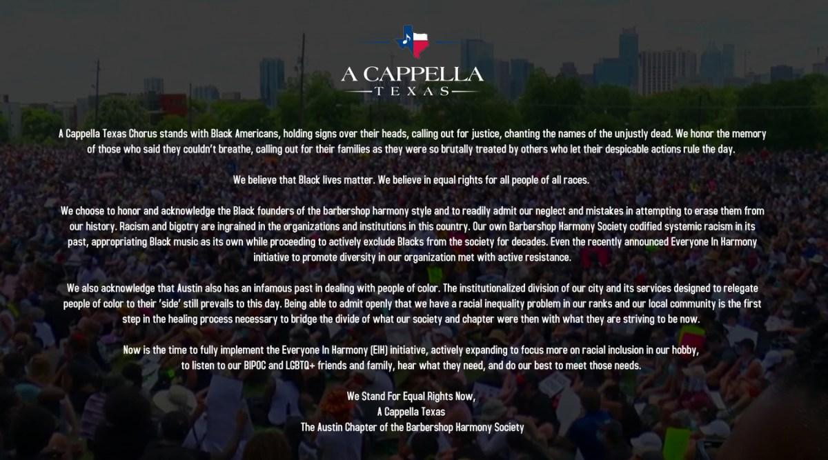 A Cappella Texas Values Statement