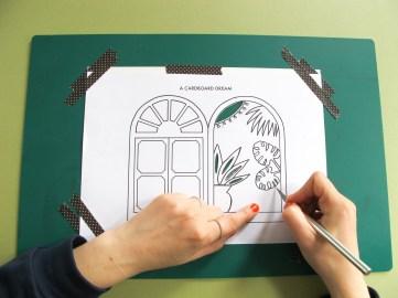 DIY // Comment réaliser une jolie carte en papier représentant une fenêtre vue exotique // How to make a cut out paper card