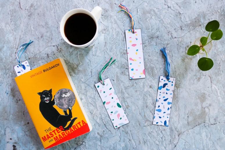 Free printable//Les marque-pages terrazzo à imprimer //Terrazzo Bookmarks // A Cardboard Dream blog