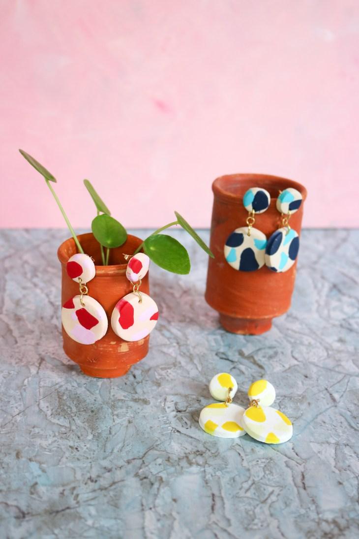 DIY // Comment réaliser des boucles d'oreilles terrazzo avec la pâte polymère Das // How to make Terrazzo earrings with polymer paste // A Cardboard Dream blog