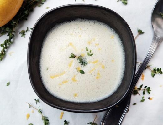 weiße Bohnensuppe mit Zitronenthymian