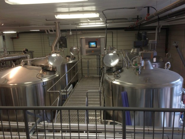 The 40hl brewhouse: mash tun, lauter tun, kettle and whirlpool (right to left)