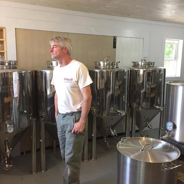 Randy checks out the newly-installed brewhouse