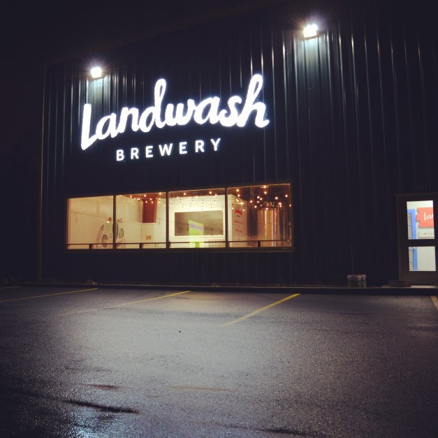 Landwash Sign at Night