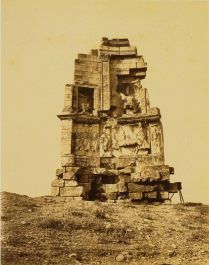 Constantine Athanassiou (Grecia, attivo dal 1875 al 1896), At the summit of the Hill of the Muses, showing the Philopappos Monument with camera tripod, ca. 1875-1880. Albumen silver print, 26.3 x 20.9 cm.