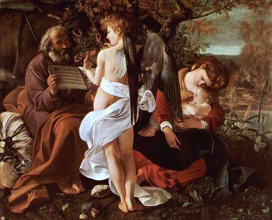 Riposo durante la fuga in Egitto 1595-1596, olio su tela 133,5 x 166,5 cm, Galleria Doria Pamphilj.