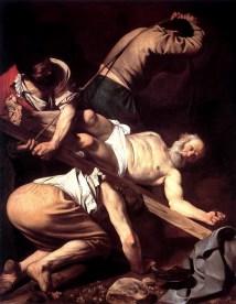 Crocefissione di San Pietro 1600-1601, olio su tela 230 × 175 cm, Basilica di Santa Maria del Popolo (spazio pubblico)