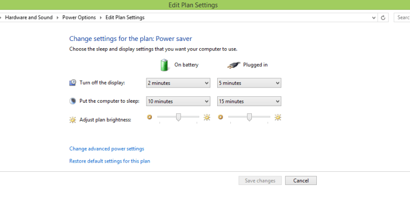 Windows 8 Power Settings