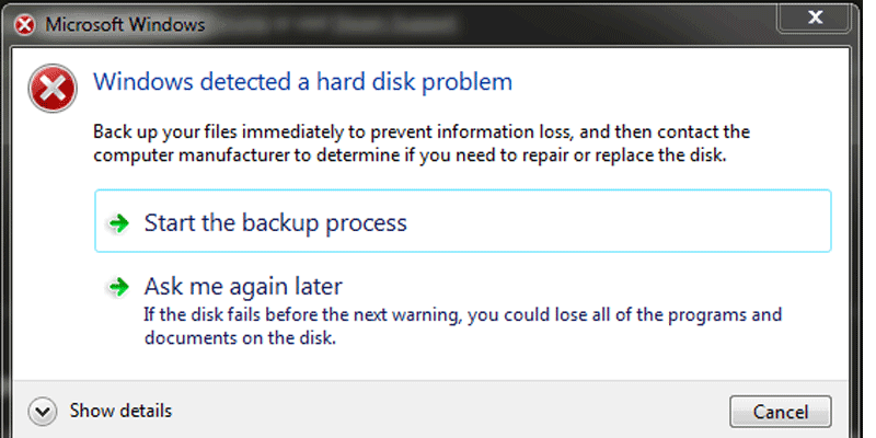 Windows detected a problem with the hard disk back up your files immediately