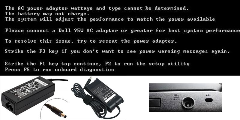 Dell Charging part and charger and wattage error message