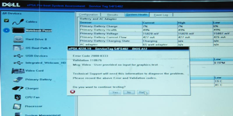 Dell diagnostics window with an error display.