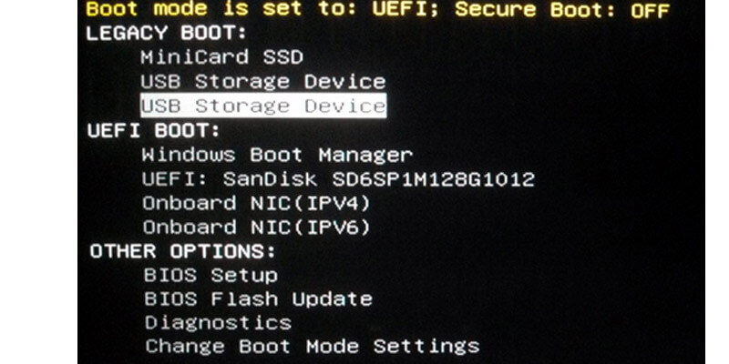 Boot menu for Dell computer