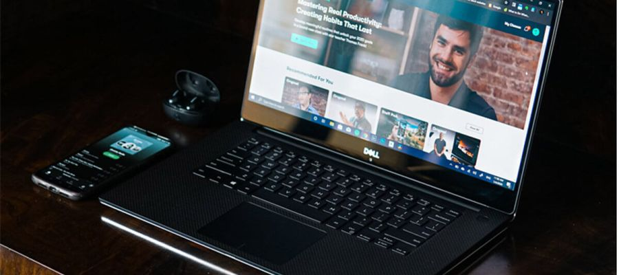 Dell XPS Laptop with a browser window open