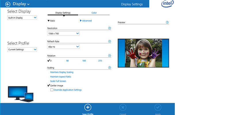Intel HD Graphics settings window