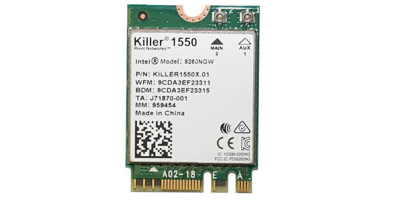 Killer 1550 WiFi compatible with the Dell XPS 15