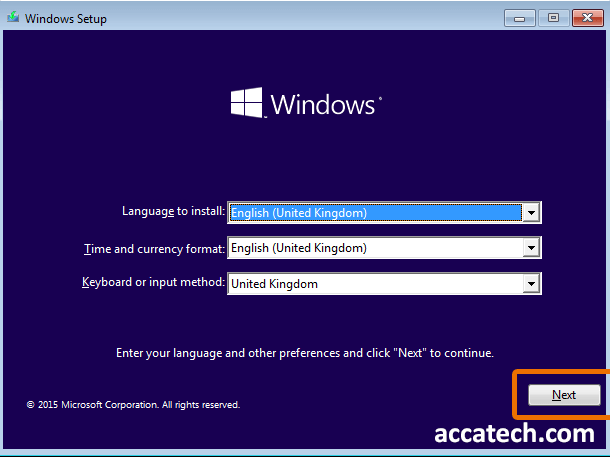 Language selection window when installing windows