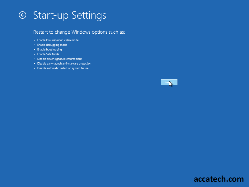 Restart to change windows settings changing start-up settings