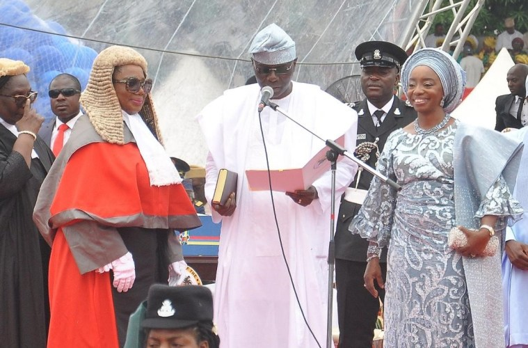 governor of lagos state babajide sanwo olu and wife at swearing in