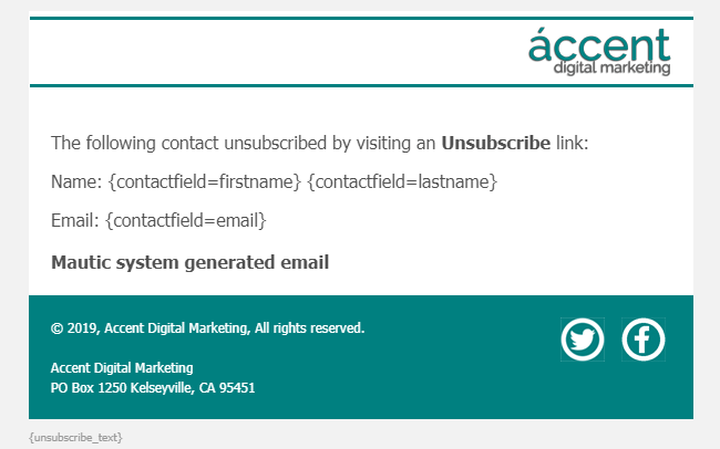 Unsubscribe notifications email template