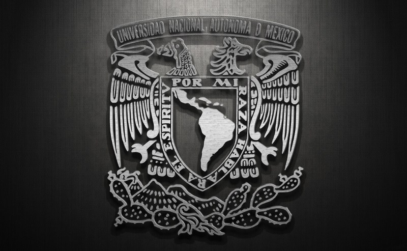 Escudo de la UNAM (Universidad Nacional Autónoma de México), acabado metálico