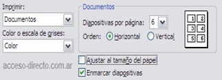 Imprimir 6 diapositivas power point
