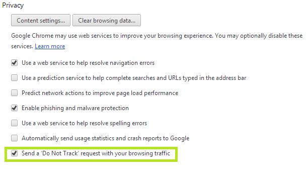 Do Not Track Chrome