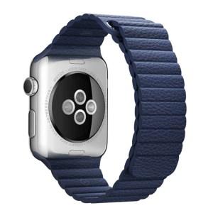 bratara apple watch albastra din piele