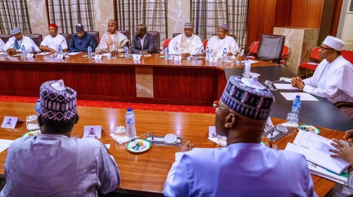 Buhari meets with APC Governors to discuss party and national issues at the state house in Abuja on Tuesday.