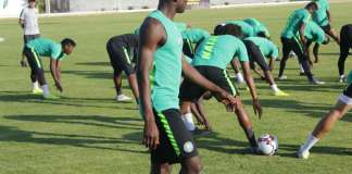 Players and officials from the Super Eagles resumed fitness training on Monday at the Teslim Balogun Stadium in preparation for their 2021 Africa