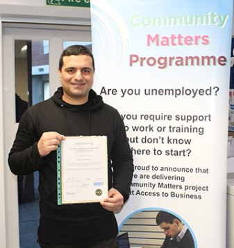 Volunteer, Volunteering, Support, employment, training, skills, building, skills building, skills building, skillset, community, community matters, work, confidence, project,man, men, case study, success story, successful, achievement