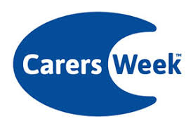 image shows the Carers Week logo which is a large blue letter C with the word 'Carers' written in white within it and the 'Week' in blue alongside.