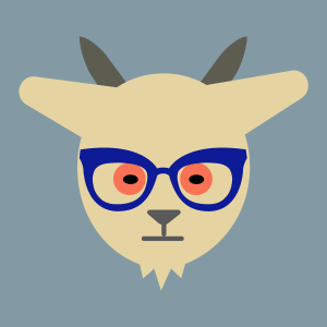 camel-colored goat with red eyes and blue glasses