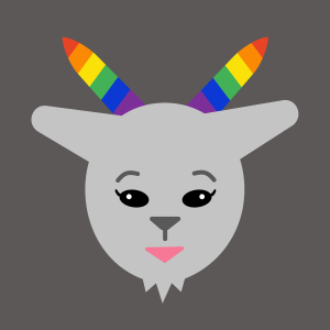 grey goat with eyelashes and rainbow horns