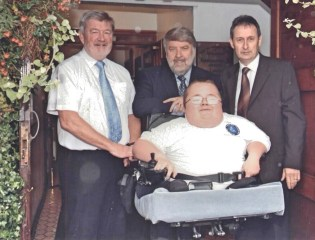Alun Evans, Roy Noble and Wynne Williams (Cymru Healthcare) with myself at the Launch of Accessible Wales
